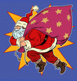 santa claus with a bag gifts vector image vector image