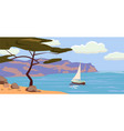 seascape sailboat palm trees vector image vector image