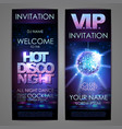 set of disco background banners hot disco night vector image vector image