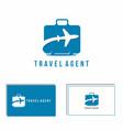 travel case abstract logo flight plane vector image