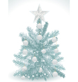turquoise christmas tree with white star and baubl vector image vector image