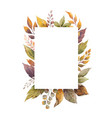 watercolor autumn frame with roses and vector image vector image
