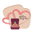 will you marry me cartoon vector image vector image