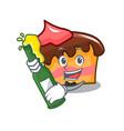 with beer sponge cake mascot cartoon vector image vector image
