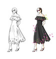 woman in a black summer dress fashion vector image