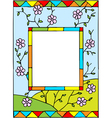 spring flowers stained glass vector image