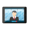 Online conference Internet meeting video call vector image