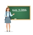 Schoolgirl in the form of stands at the blackboard vector image