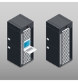 Server tower rack detailed isometric icon vector image