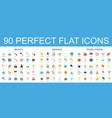 90 modern flat icon set of beauty wedding travel vector image vector image