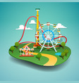 amusement park paper cut vector image
