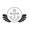 anchor marine in frame circular with leafs vector image vector image