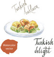baklava on a plate watercolor vector image vector image