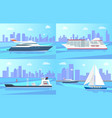 beautiful ships on water surface set vector image