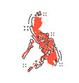 cartoon philippines map icon in comic style vector image vector image