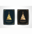 christmas greeting card with tree silhouette and vector image