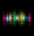 cityscape with buildings scene night vector image