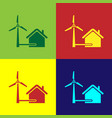 color house with wind turbine for electric energy vector image