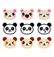 cute kawaii bear icons set panda bear design vector image