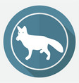 dog icon on white circle with a long shadow vector image vector image