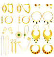 earring clasps types golden vector image vector image