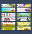 easter greeting tag and egg hunt gift label set vector image vector image