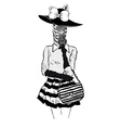 Fashion of zebra lady in hat