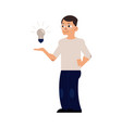 flat man with light bulb vector image vector image