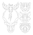 front view animal head triangular icon set vector image vector image