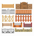gate fences and hedges metal stone wood vector image vector image