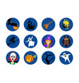 halloween round icons set isolated vector image vector image