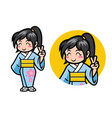 japan girl chibi mascot vector image