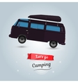 Lets go camping tourists travel by car Funny vector image