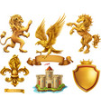 lion horse eagle lily golden heraldic elements 3d vector image
