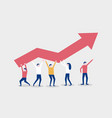little people raise a red chart arrow teamwork vector image