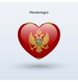 Love Montenegro symbol Heart flag icon vector image vector image
