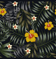 night tropical seamless pattern leaves vector image vector image