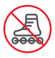 no roller skates line icon prohibition vector image vector image