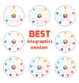 pie chart diagrams data 3 4 5 6 7 8 9 10 options vector image