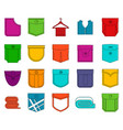 Pocket icon set color outline style