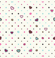 polka dot background with hearts vector image vector image