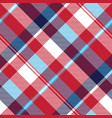 red check plaid seamless fabric texture vector image vector image