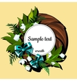 Round frame with flowers of white lilies and text vector image vector image