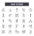 sad line icons signs set outline vector image vector image