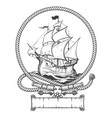 sailing ship engraving vector image vector image