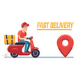 scooter with delivery man fast courier with pizza vector image vector image