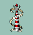sea lighthouse with a ribbon in vintage style vector image