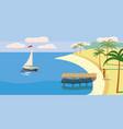 seascape sailboat palm trees vector image