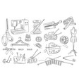 set of hand drawn sewing and knitting icons vector image