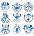 set of old style heraldry emblems vintage vector image vector image